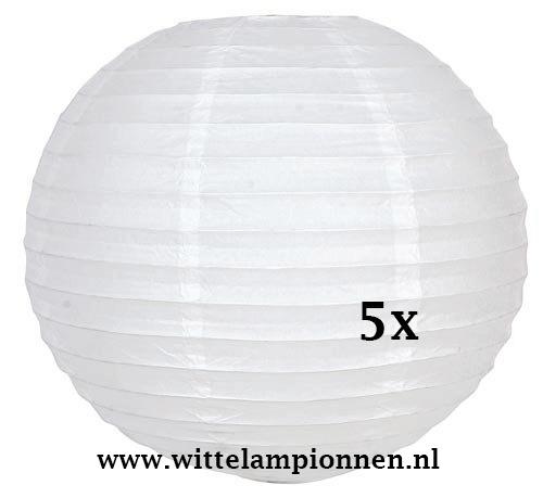 Lampion wit rijstpapier 45 cm - 5 stuks