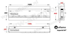 Aflamo Imperial 60 | 152cm  - Elektrische inbouwhaard