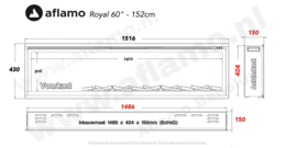 Aflamo Royal 151cm  - Elektrische inbouwhaard