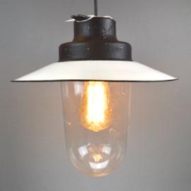 hanglamp cylindrisch glas met emaille kap
