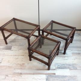 set bamboe bijzettafels