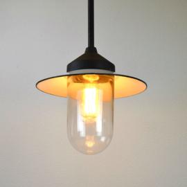 hanglamp glazen cilinder met emaille kap
