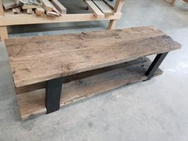 TV meubel eiken wagonplanken geborsteld met stalen onderstel frame 60x30mm