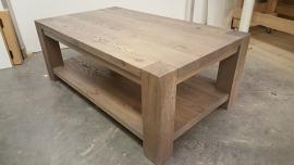salontafel 120x60 eiken massief geschaafd met houten onderstel