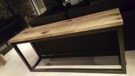 Sidetable 150x45x75cm eiken wagonplanken met stalen frame