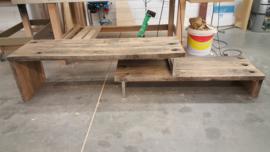 TV meubel eiken wagonplanken RVS onderstel