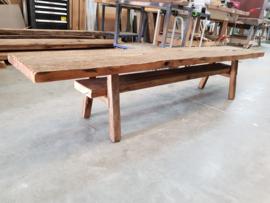 TV meubel eiken wagonplanken met oud eiken balken onderstel