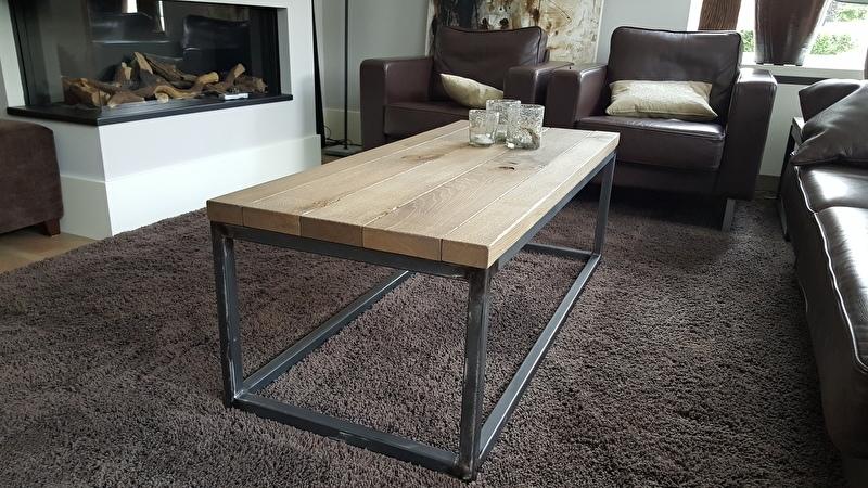 Nieuw salontafel 120x60 eiken massief geschaafd met metalen onderstel XQ-56