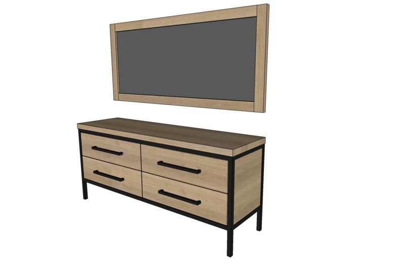 Bad meubel massief eikenhout met stalen frame op maat