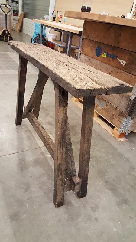 Side Table Oud Hout.Sidetable 135x30x75cm Eiken Wagondelen Wagonplanken Met Oud