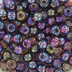miyuki rocailles 6/0 - 1013 silverlined ab dark smoky amethyst