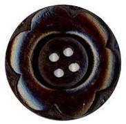 Houten knoop met bladmotief 97733-30 mm donker