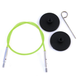 Knitpro kabel met toebehoren 60 cm groen/zilver