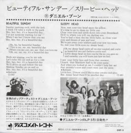 Daniel Boone - Beautiful sunday (Japanse uitgave)