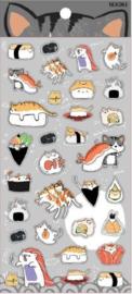 Stickervel kat en sushi