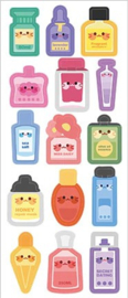 Kawaii glitter stickervel parfum flesjes