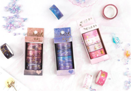 Washi Tape set Paarse Galaxy