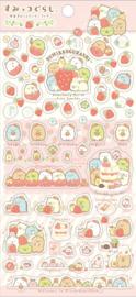 Sumikko Gurashi aardbei stickervel