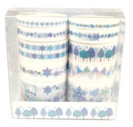 Pakket met 10 blauwe winter washi tape