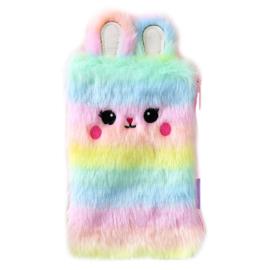 Fluffy konijn etui regenboog