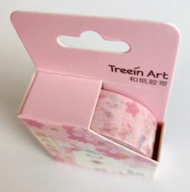 Sakura washi tape kat roze zittend