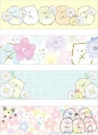 Sumikko Gurashi bloemen washi tape set van 2