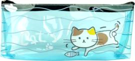 Doorzichtige blauwe kat etui