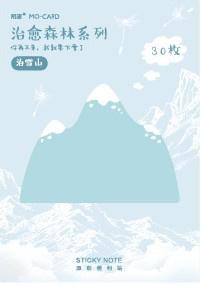 Sticky notes blauwe berg