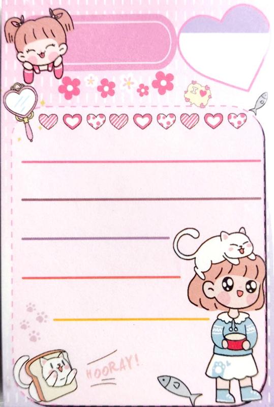 Roze memoblokje cat & girl