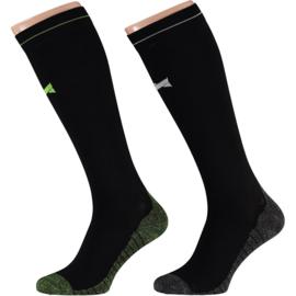 X-treme | Running Compression Socks Zwart-Groen | 2-Pack