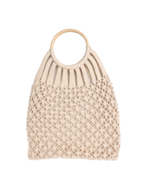 TRENDY COTTON SHOPPER MET HOUTEN HANDVAT OFF WHITE