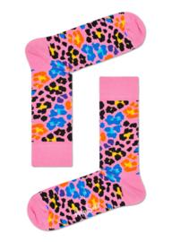 Happy Socks Multi Leopard Sokken Roze
