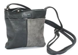 Schoudertasje | Crossbodybag Basic Contrast Small | Grijs/Zwart