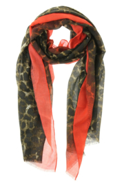 Lange zomersjaal Spring Leopard, Rood  91109