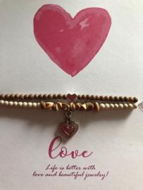 Quote Love met 2 armbandjes Bruin/beige