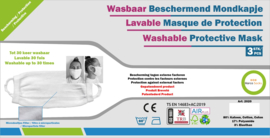Wasbare Mondmaskers 3-Pack WIT