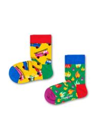 Happy Socks Kids 2-pack on Fire Sokken