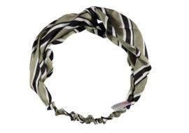 Sarlini Fashion Elastische haarband Bow | Stripes Khaki