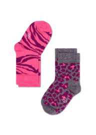 Happy Kids 2-pack Zebra & Leopard Roze