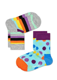 Happy Socks Kids 2-pack Big Dot & Stripes Sokken Grijs