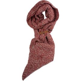 LOT83 | Jet | Lange Sjaal met speels motief en leertje | Bordeaux