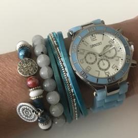 Blauw horloge set met 3 armbanden