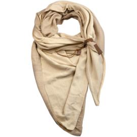Lot83 driehoek sjaal Fien Twin met stoer leren bandje, Beige/Offwhite