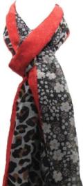 Sarlini Dames sjaal Leopard en Flowers Rood