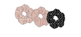 Sarlini Haarelastiek Scrunchies Zwart/Roze | 3 stuks