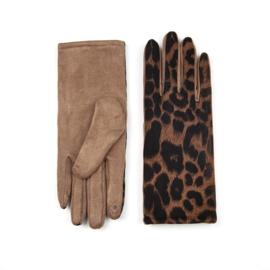 Dames handschoenen met Tijger print Bruin Khaki