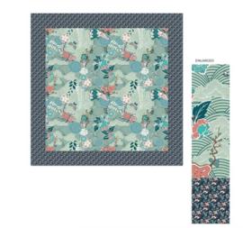 Sarlini Vierkante Dames sjaal Flowers Blauw