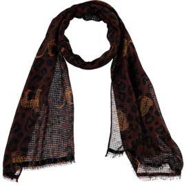 Sarlini   Lange bruine dames sjaal met panter   Safari
