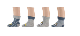 Apollo Baby Terry Socks Bouwer Blauw/Grijs | 4 Paar