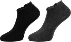 Boru Bamboo Short Sneaker Sok met lipje 2-Pack Grijs/Antracite